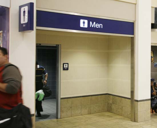 <div class='meta'><div class='origin-logo' data-origin='AP'></div><span class='caption-text' data-credit='AP Photo/Andy King'>The bathroom at the Minneapolis St. Paul International Airport in Minneapolis where U.S. Sen. Larry Craig, R-Idaho, was arrested in a sex sting</span></div>