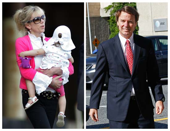 <div class='meta'><div class='origin-logo' data-origin='AP'></div><span class='caption-text' data-credit='AP Photo/Jim R. Bounds, Gerry Broome'>John Edwards' affair with Rielle Hunter -- that resulted in a child named Quinn -- ended Edwards' political career</span></div>
