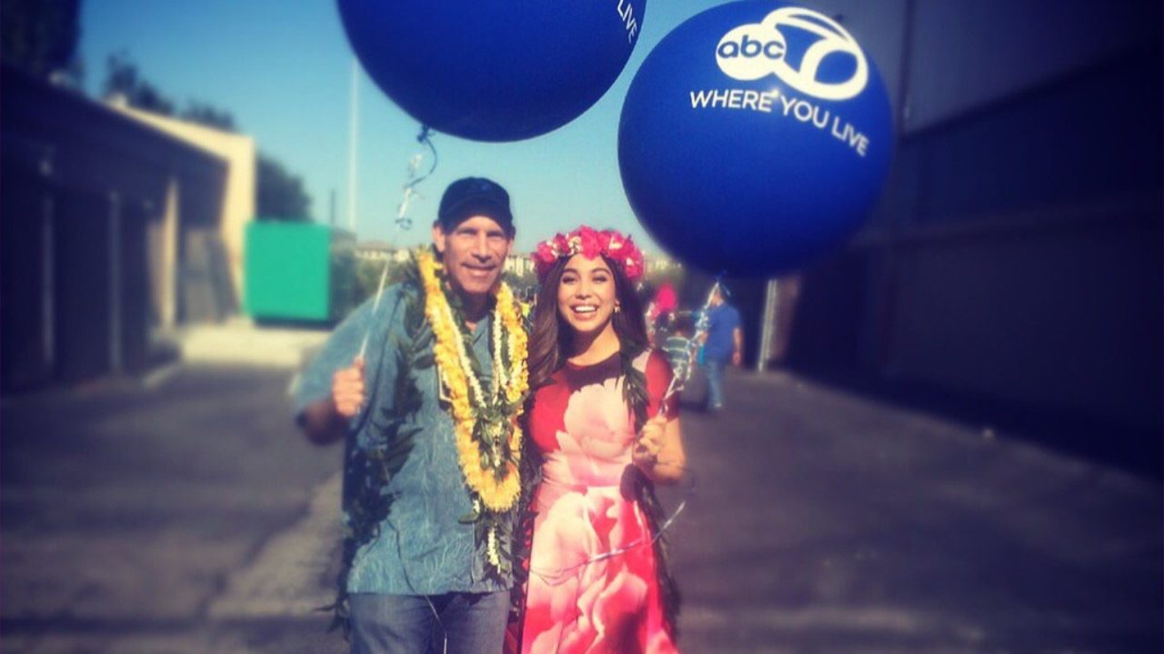 ABC7 Sports Director Larry Beil and Morning Anchor Natasha Zouves at the 2016 Aloha Festival in San Mateo, Calif., on Saturday August 8, 2016.