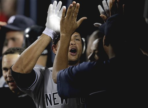 <div class='meta'><div class='origin-logo' data-origin='AP'></div><span class='caption-text' data-credit='AP'>New York Yankees' Alex Rodriguez, left, gets a high-five from teammate Ivan Nova after after hitting his 23rd career grand slam matching Yankees Hall of Famer Lou Gehrig.</span></div>