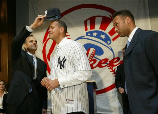 <div class='meta'><div class='origin-logo' data-origin='AP'></div><span class='caption-text' data-credit='AP'>FILE - In this Feb. 17, 2004, file photo, New York Yankees skipper Joe Torre puts a Yankees cap on the newest member of the team Alex Rodriguez.</span></div>
