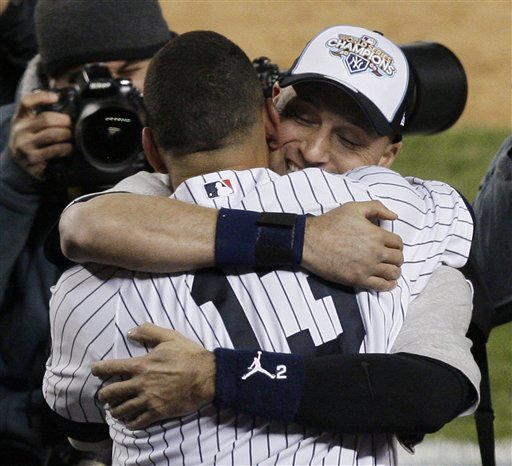 <div class='meta'><div class='origin-logo' data-origin='AP'></div><span class='caption-text' data-credit='AP'>New York Yankees Derek Jeter, right, hugs Alex Rodriguez after winning the Major League Baseball World Series against the Philadelphia Phillies Wednesday, Nov. 4, 2009.</span></div>