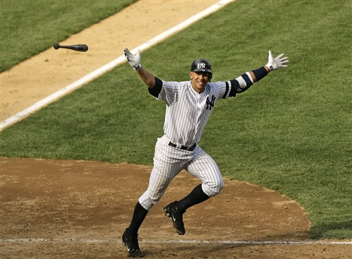 <div class='meta'><div class='origin-logo' data-origin='AP'></div><span class='caption-text' data-credit='AP'>** FILE ** New York Yankee's Alex Rodriguez tosses his bat in the air after hitting a two-out walk-off three-run home run in the Yankees 8-6 win over the Cleveland Indians.</span></div>