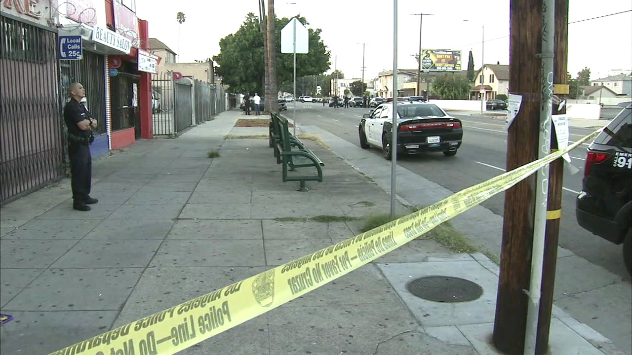 Police responded to the area of 59th and Figueroa streets in South L.A. after a shooting that left one woman dead and three others wounded on Sunday, Aug. 7, 2016.