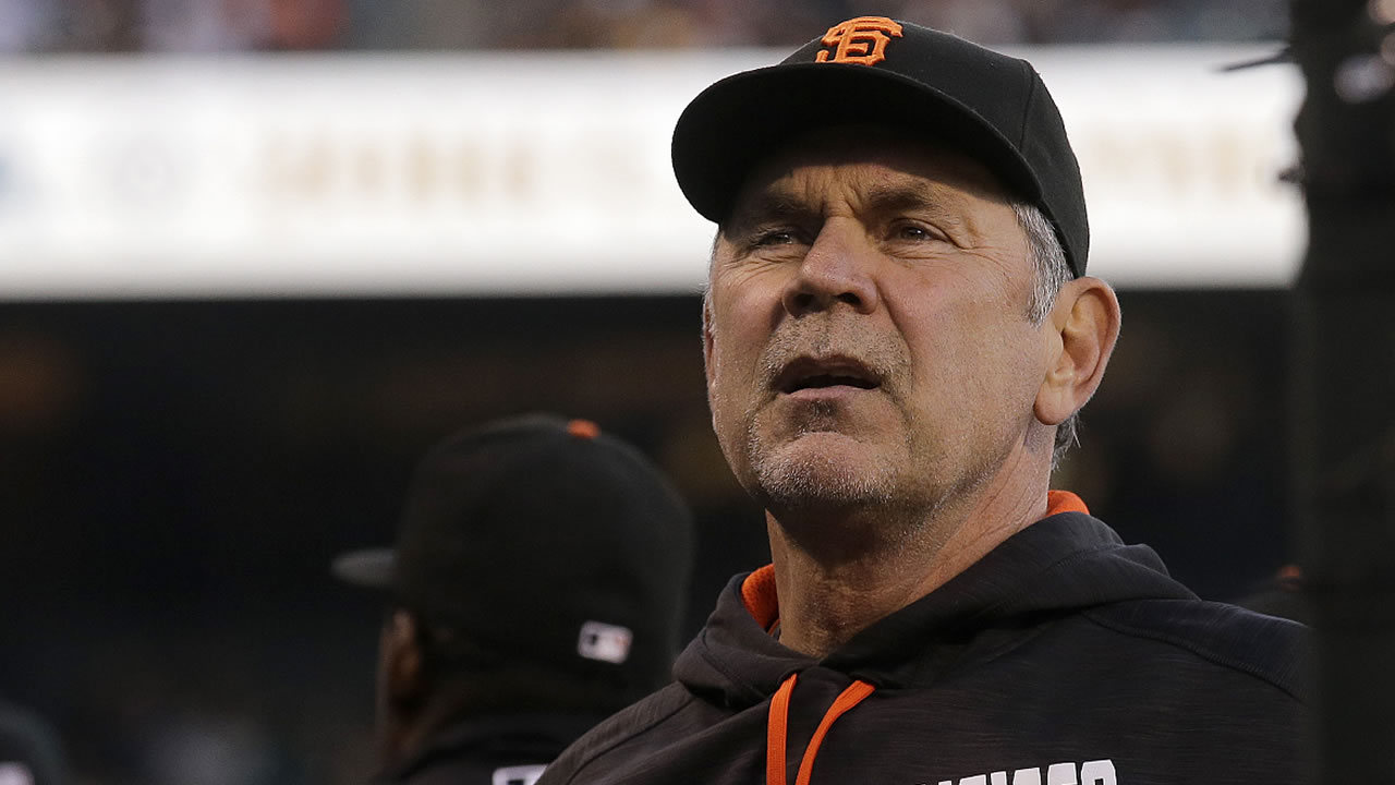 San Francisco Giants manager Bruce Bochy against the Oakland Athletics during the third inning of an interleague baseball game in San Francisco, Tuesday, June 28, 2016.