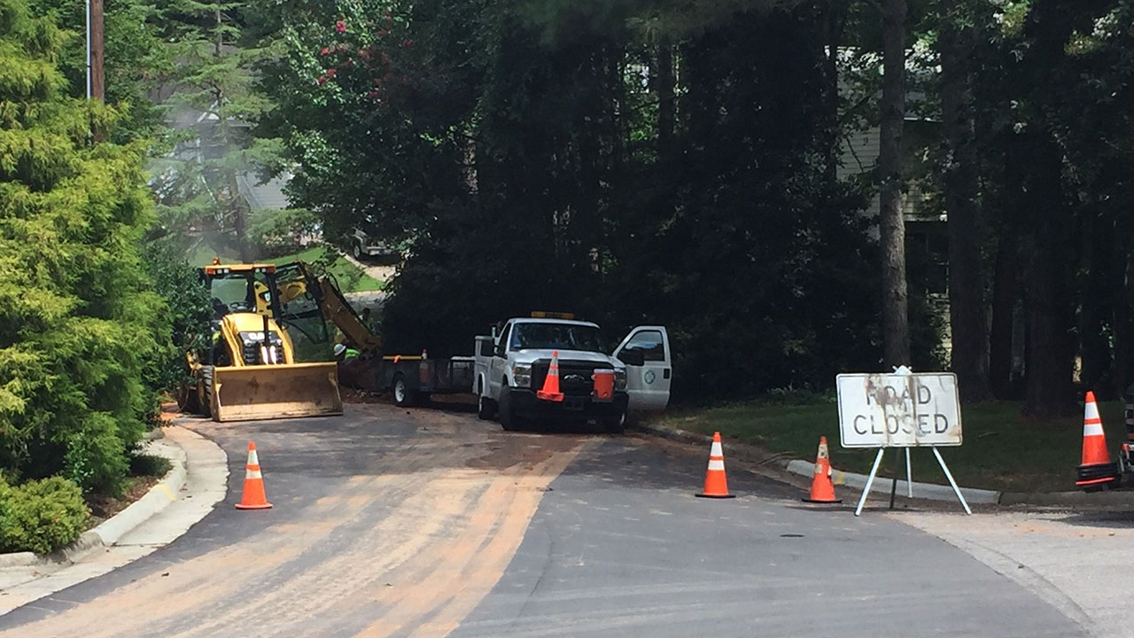 Water main break along Kirkfield Drive in Cary