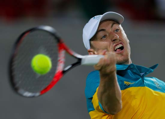 "<div class=""meta image-caption""><div class=""origin-logo origin-image ap""><span>AP</span></div><span class=""caption-text"">John Millman, of Australia, returns to Kei Nishikori, of Japan, in the men's tennis competition (AP Photo/Vadim Ghirda)</span></div>"