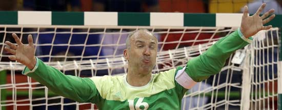 "<div class=""meta image-caption""><div class=""origin-logo origin-image ap""><span>AP</span></div><span class=""caption-text"">France's Thierry Omeyer during the men's preliminary handball match (AP Photo/Ben Curtis)</span></div>"