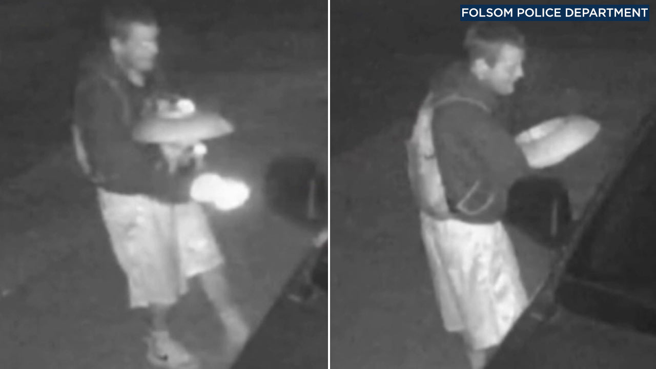 A suspected thief is seen in surveillance images holding a sombrero stuffed with what Folsom police say are stolen items.