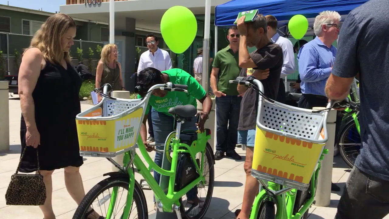 West Hollywood gives a preview of its new bike share program on Tuesday, Aug. 9, 2016.