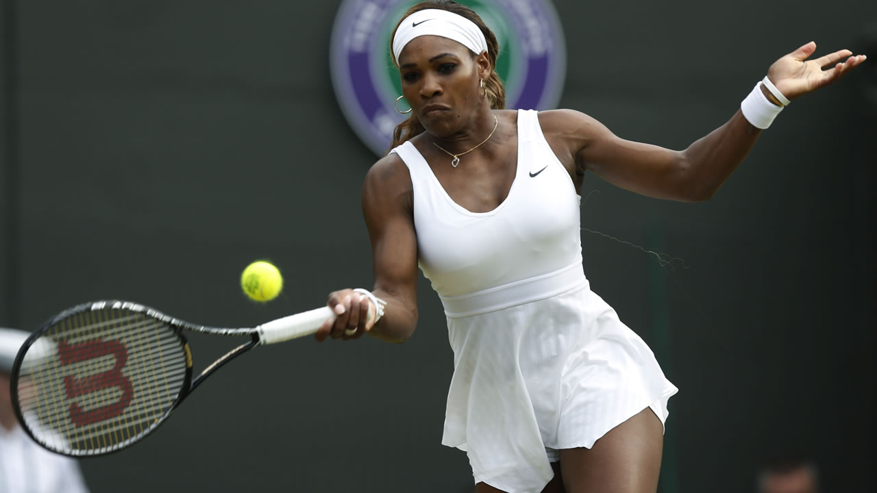 Serena Williams of U.S. at women's singles match at the All England Lawn Tennis Championships in Wimbledon, London, Saturday, June 28, 2014. (AP Photo/Sang Tan)