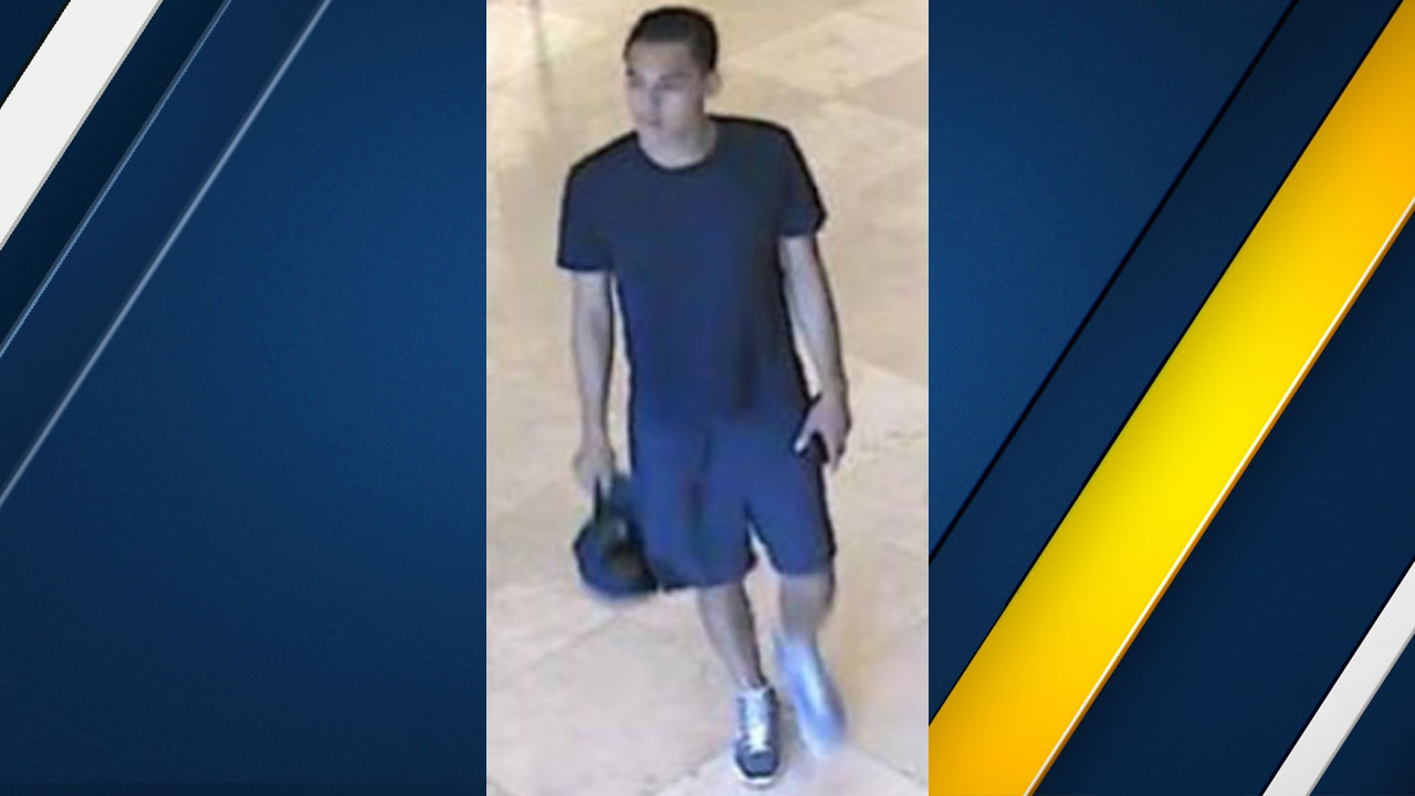 A man wanted on suspicion of sexually assaulting a woman at the South Coast plaza shopping mall is shown in surveillance photos on Tuesday, Aug. 2, 2016.