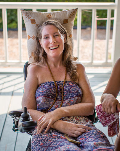 <div class='meta'><div class='origin-logo' data-origin='AP'></div><span class='caption-text' data-credit='Niels Alpert via AP'>This July 24, 2016 photo, Betsy Davis smiles during a going away party with her family and friends in Ojai, Calif.</span></div>