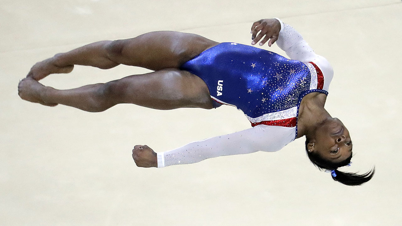United States' Simone Biles performs on the floor during the artistic gymnastics women's individual all-around final at the 2016 Summer Olympics in Rio de Janeiro, Brazil.