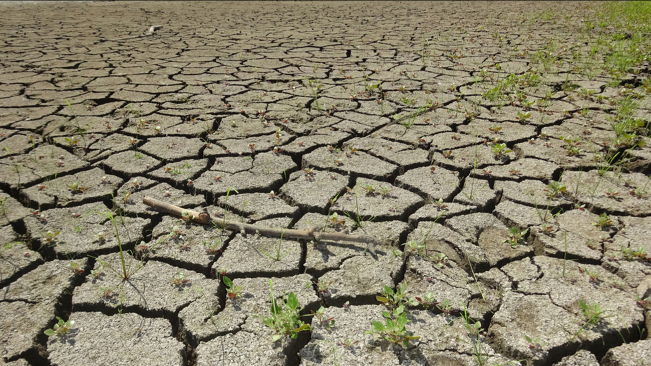 Cracked land is shown in drought-stricken California in an undated file photo.