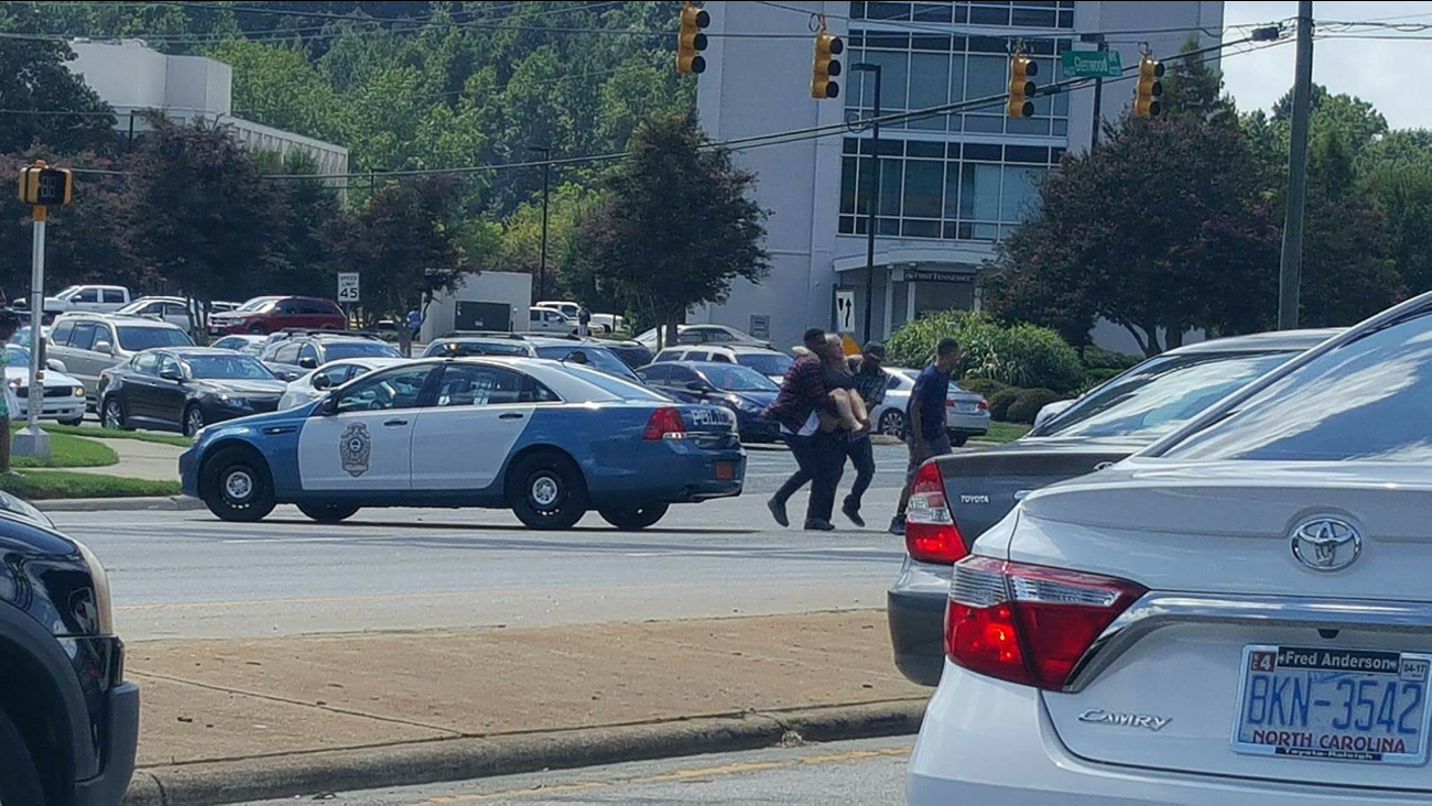 Photos from the scene of a lockdown situation at Crabtree Valley Mall