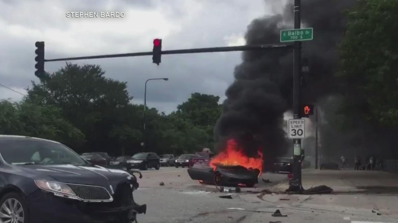 lamborghini crashes into light pole, bursts into flames near grant