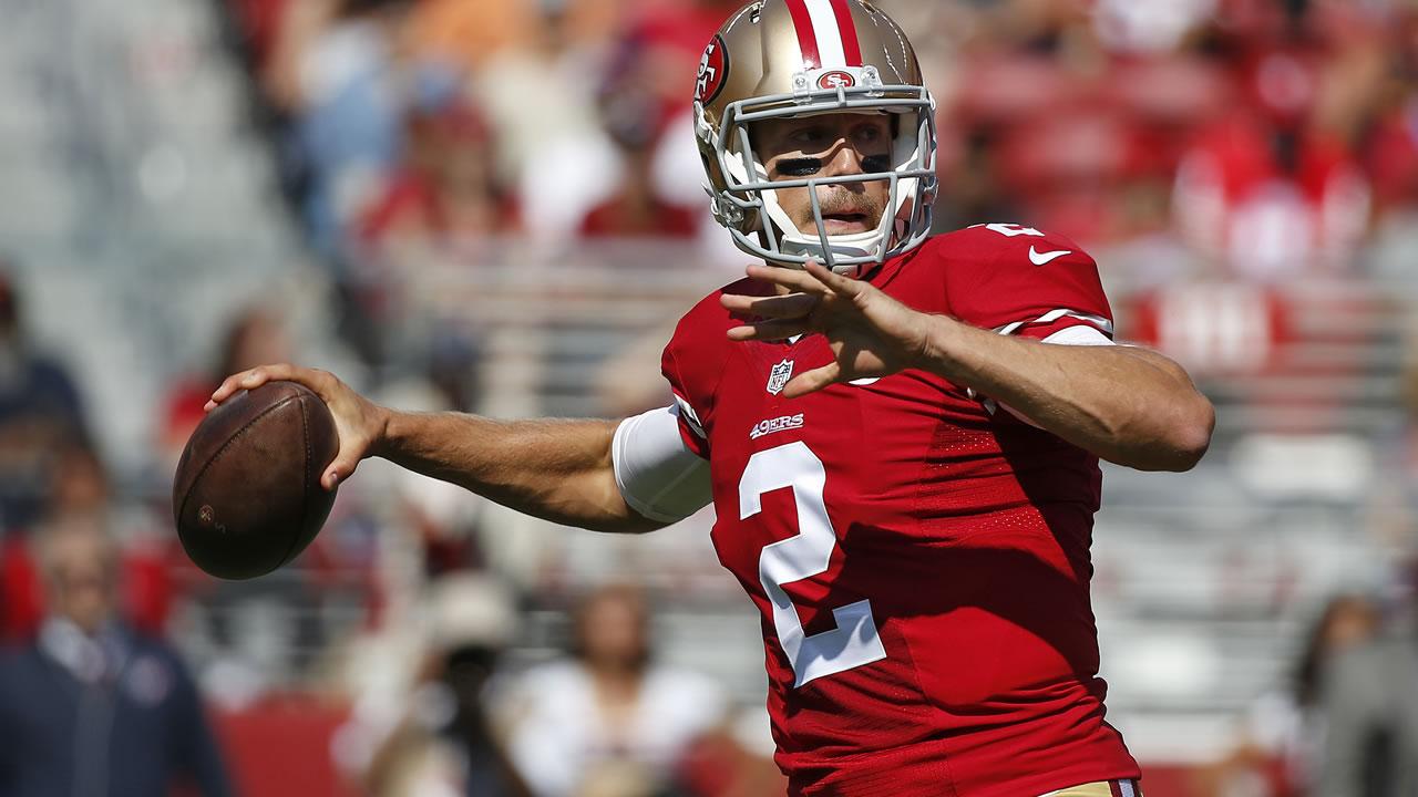 49ers quarterback Blaine Gabbert drops back to throw during an NFL preseason football game against the Houston Texans, Sunday, Aug. 14, 2016, in Santa Clara, Calif. (AP Photo)