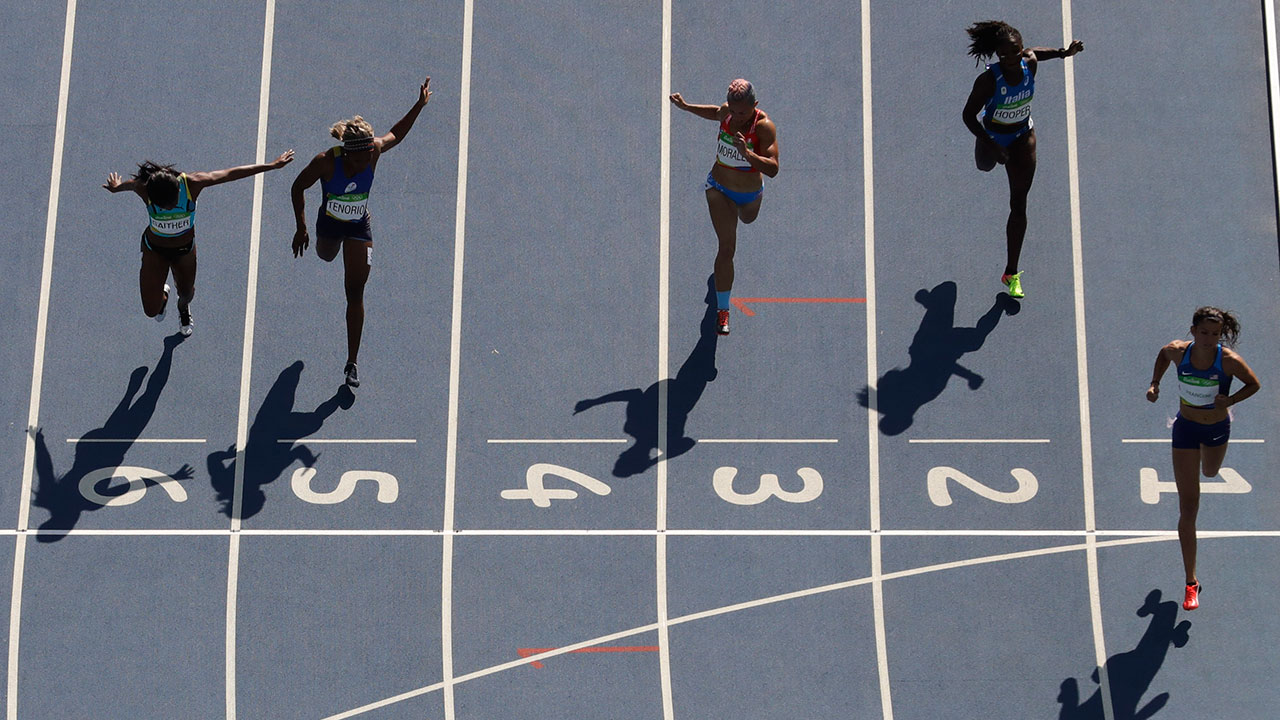 United States' Jenna Prandini wins her heat in the 200 meter during the athletics competitions of the 2016 Summer Olympics at the Olympic stadium in Rio de Janeiro, Brazil, Monday, Aug. 15, 2016.