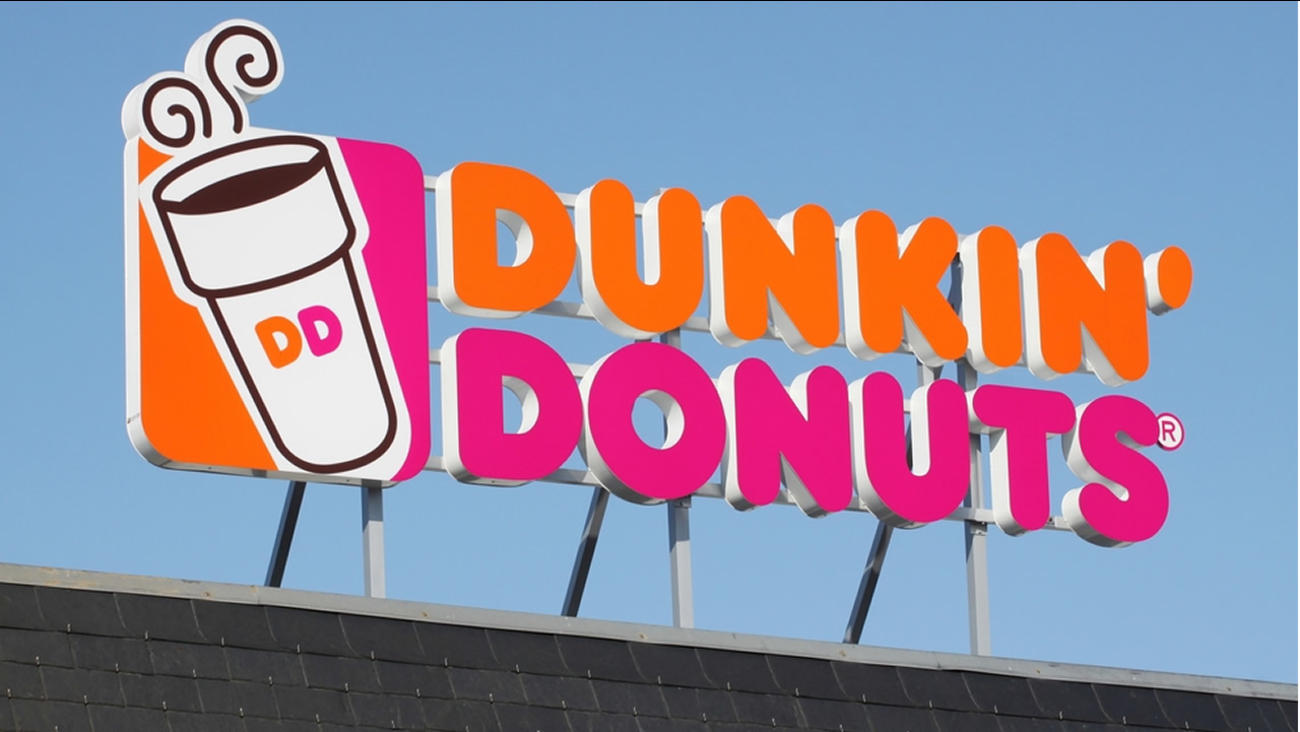 A Dunkin' Donuts sign is seen in Wasserbillig, Luxembourg on April 20, 2015.