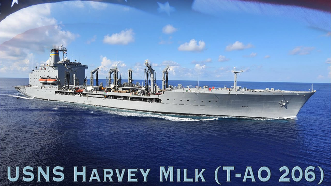This undated image shows a U.S. Navy ship that will named Harvey Milk after the San Francisco gay rights icon.