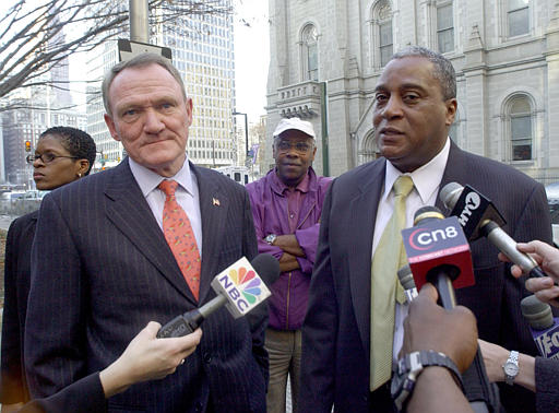 "<div class=""meta image-caption""><div class=""origin-logo origin-image none""><span>none</span></div><span class=""caption-text"">Commissioner John F. Timoney, left, and Deputy Commissioner Sylvester Johnson, right, meet with the press after Timoney held a press conference saying he was stepping down. (ASSOCIATED PRESS)</span></div>"