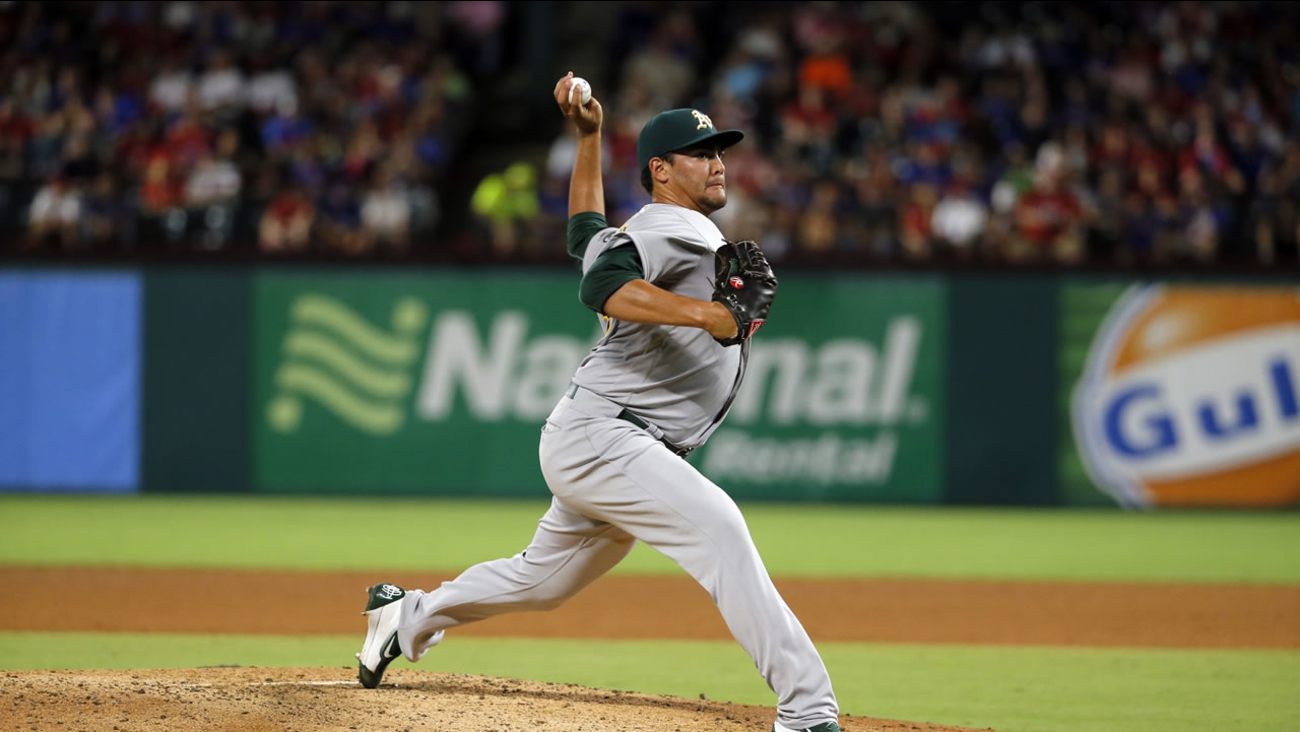 Oakland Athletics' Sean Manaea works against the Texas Rangers in the seventh inning of a baseball game, Wednesday, Aug. 17, 2016, in Arlington, Texas.