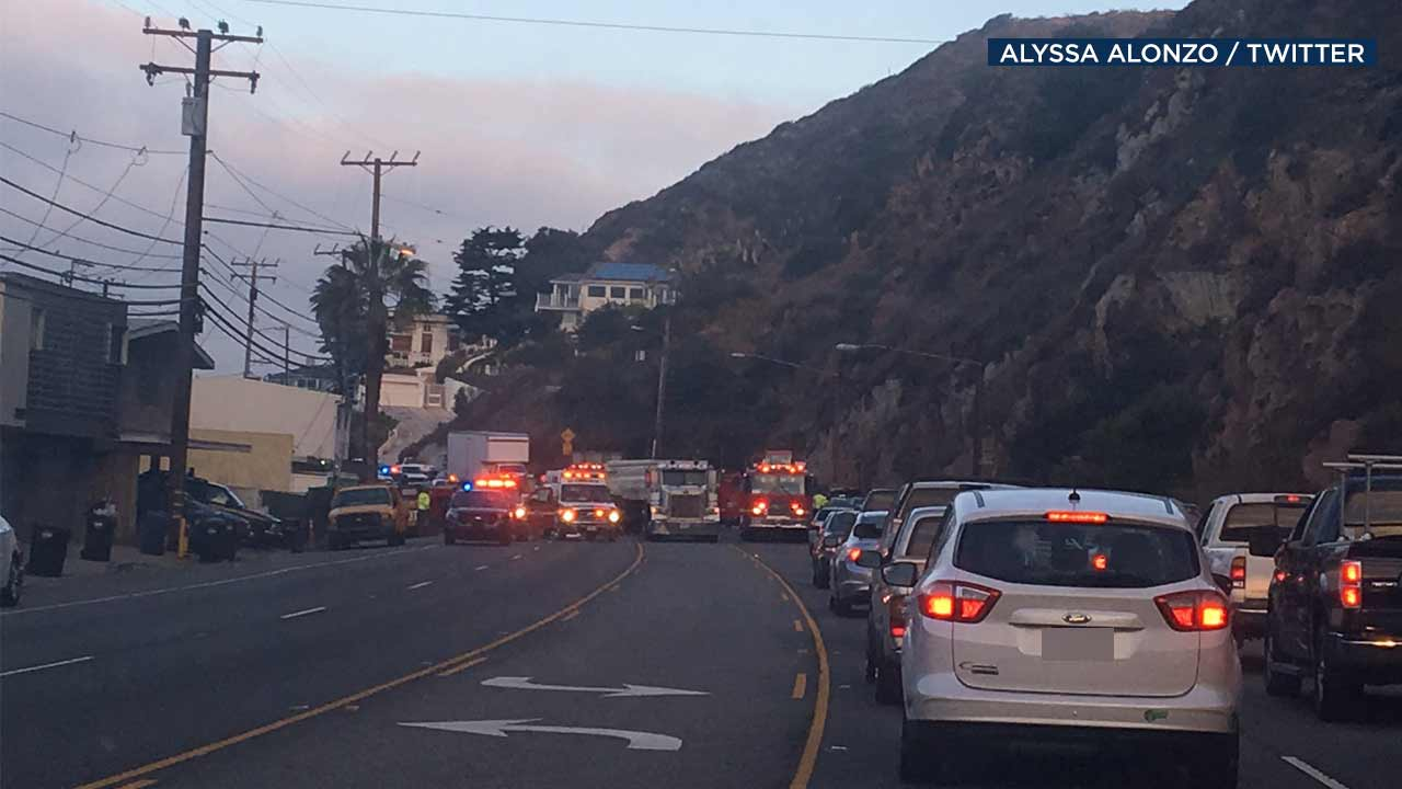 Emergency responders gather at the scene of a crash on Pacific Coast Highway on Thursday, Aug. 18, 2016.