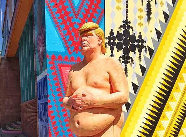 A nude statue of Donald Trump is seen in Los Feliz on Thursday, Aug. 18, 2016.