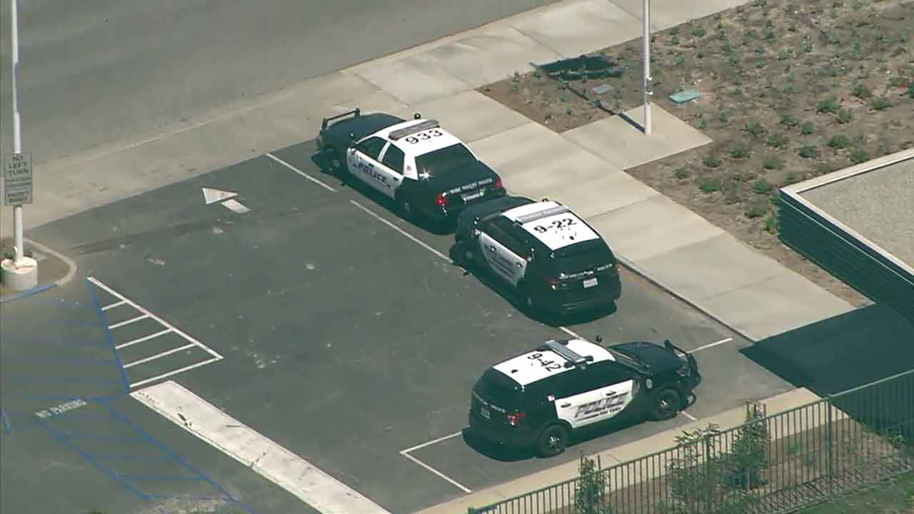 Police patrol vehicle are seen parked at Royal High School in Simi Valley on Thursday, Aug. 18, 2016.