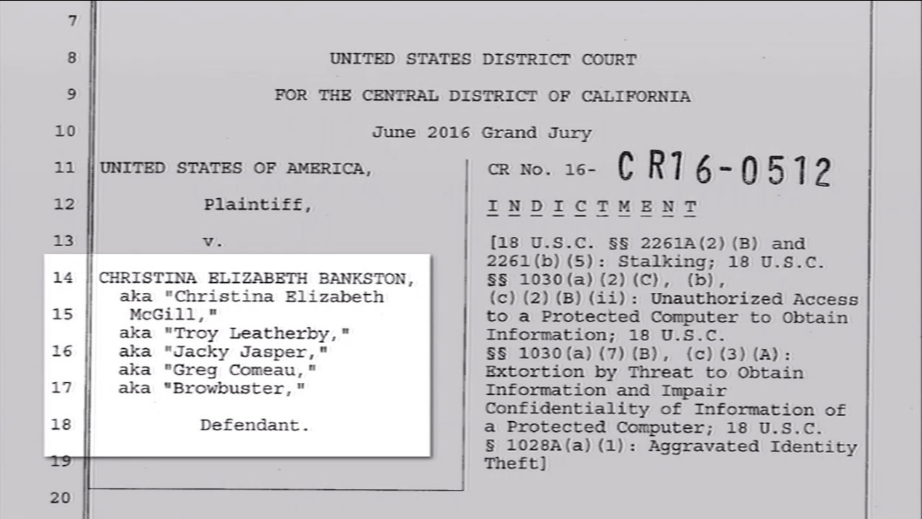 This image shows the indictment against 36-year-old Christina Elizabeth Bankston, of Newark, Calif., for allegedly cyberstalking reality TV star Kris Jenner.