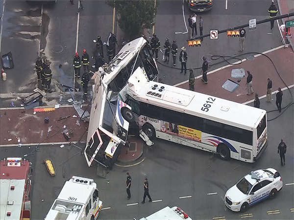 <div class='meta'><div class='origin-logo' data-origin='WABC'></div><span class='caption-text' data-credit='NewsCopter 7'>Photos from the scene where 2 buses collided in Newark, New Jersey on Friday, August 19, 2016.</span></div>