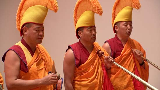 """<div class=""""meta image-caption""""><div class=""""origin-logo origin-image ktrk""""><span>KTRK</span></div><span class=""""caption-text"""">Drepung Loseling monks perform ancient temple music and dance intended to kindle world healing (KTRK)</span></div>"""