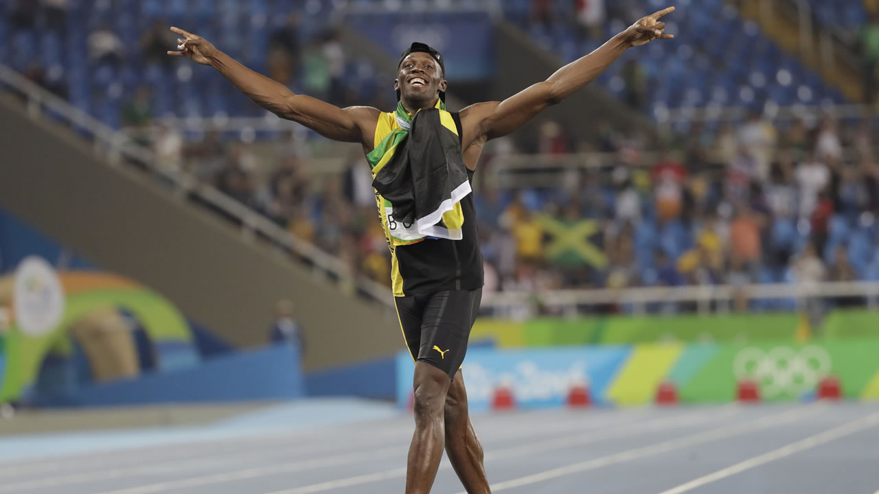 Jamaica's Usain Bolt celebrates winning the gold medal in the men's 4x100-meter relay final during the athletics competitions of the 2016 Summer Olympics in Rio de Janeiro, Brazil.