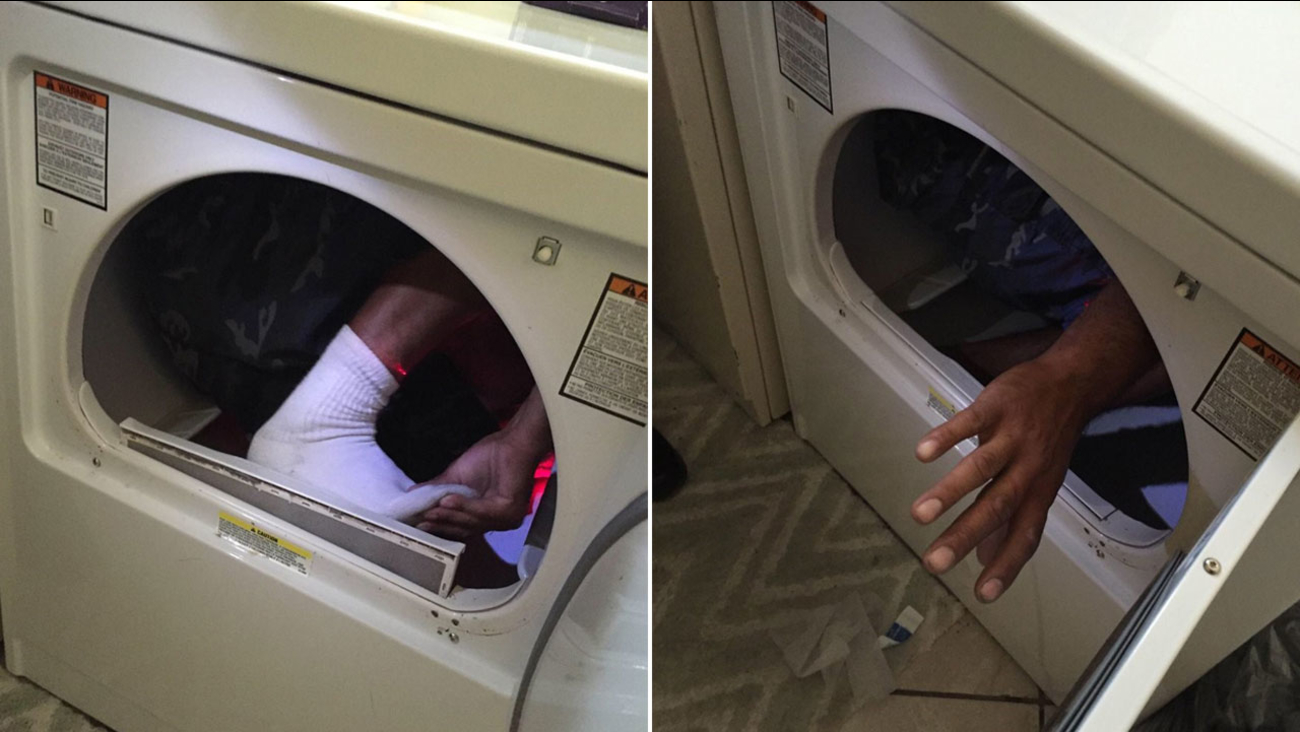 A domestic violence suspect is shown hiding in a dryer in an Oxnard home on Friday, Aug. 19, 2016.