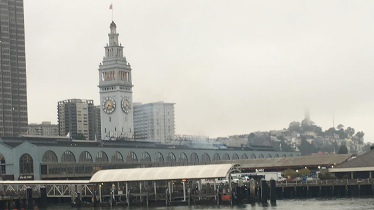 Small fire contained on roof of Ferry Building, San Francisco, Monday, August 22, 2016.