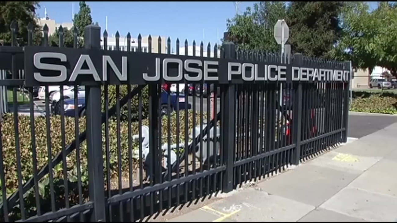 In this Monday, August 22, 2016 image, a sign for the San Jose Police Department is seen in San Jose, Calif.