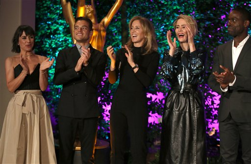 """<div class=""""meta image-caption""""><div class=""""origin-logo origin-image ap""""><span>AP</span></div><span class=""""caption-text"""">Constance Zimmer, from left, Rami Malek, Felicity Huffman, Sarah Paulson and Sterling K. Brown attend the Television Academy's Performers Emmy Celebration. (Matt Sayles/Invision/AP)</span></div>"""