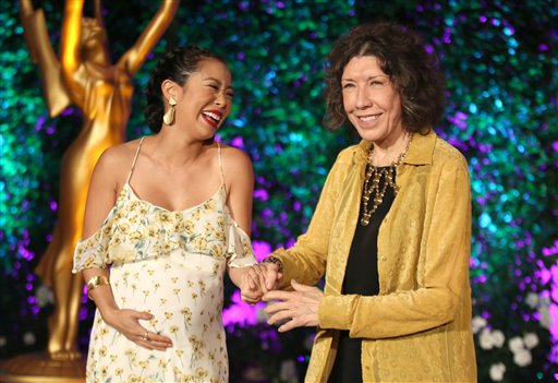 """<div class=""""meta image-caption""""><div class=""""origin-logo origin-image ap""""><span>AP</span></div><span class=""""caption-text"""">Michelle Ang, left, and Lily Tomlin attend the Television Academy's Performers Emmy Celebration at the Montage Beverly Hills on Monday, Aug. 22, 2016. (Invision for the Television Academy)</span></div>"""