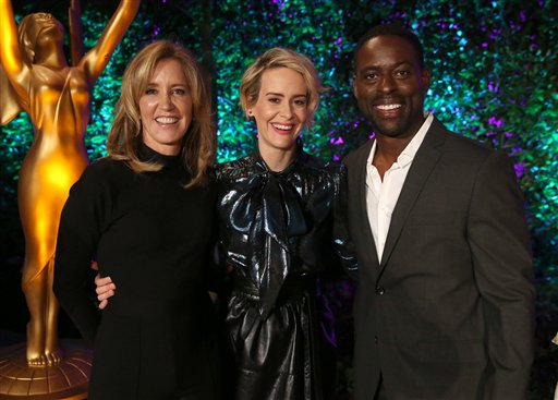 "<div class=""meta image-caption""><div class=""origin-logo origin-image ap""><span>AP</span></div><span class=""caption-text"">Felicity Huffman, from left, Sarah Paulson and Sterling K. Brown attend the Television Academy's Performers Emmy Celebration at the Montage Beverly Hills on Monday, Aug. 22, 2016. (Matt Sayles/Invision/AP)</span></div>"