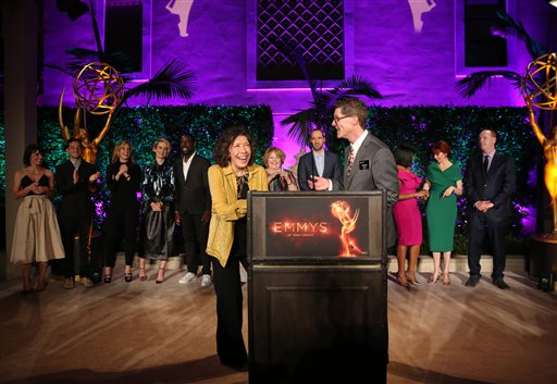 "<div class=""meta image-caption""><div class=""origin-logo origin-image ap""><span>AP</span></div><span class=""caption-text"">Lily Tomlin, left, and Bob Bergen speak at the Television Academy's Performers Emmy Celebration at the Montage Beverly Hills on Monday, Aug. 22, 2016. (Matt Sayles/Invision/AP)</span></div>"