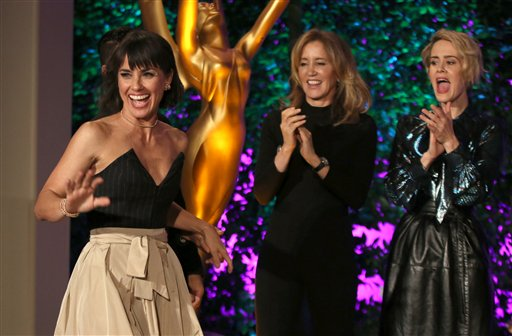 """<div class=""""meta image-caption""""><div class=""""origin-logo origin-image none""""><span>none</span></div><span class=""""caption-text"""">Constance Zimmer, left, walks on stage at the Television Academy's Performers Emmy Celebration at the Montage Beverly Hills on Monday, Aug. 22, 2016. (Invision for the Television Academy)</span></div>"""