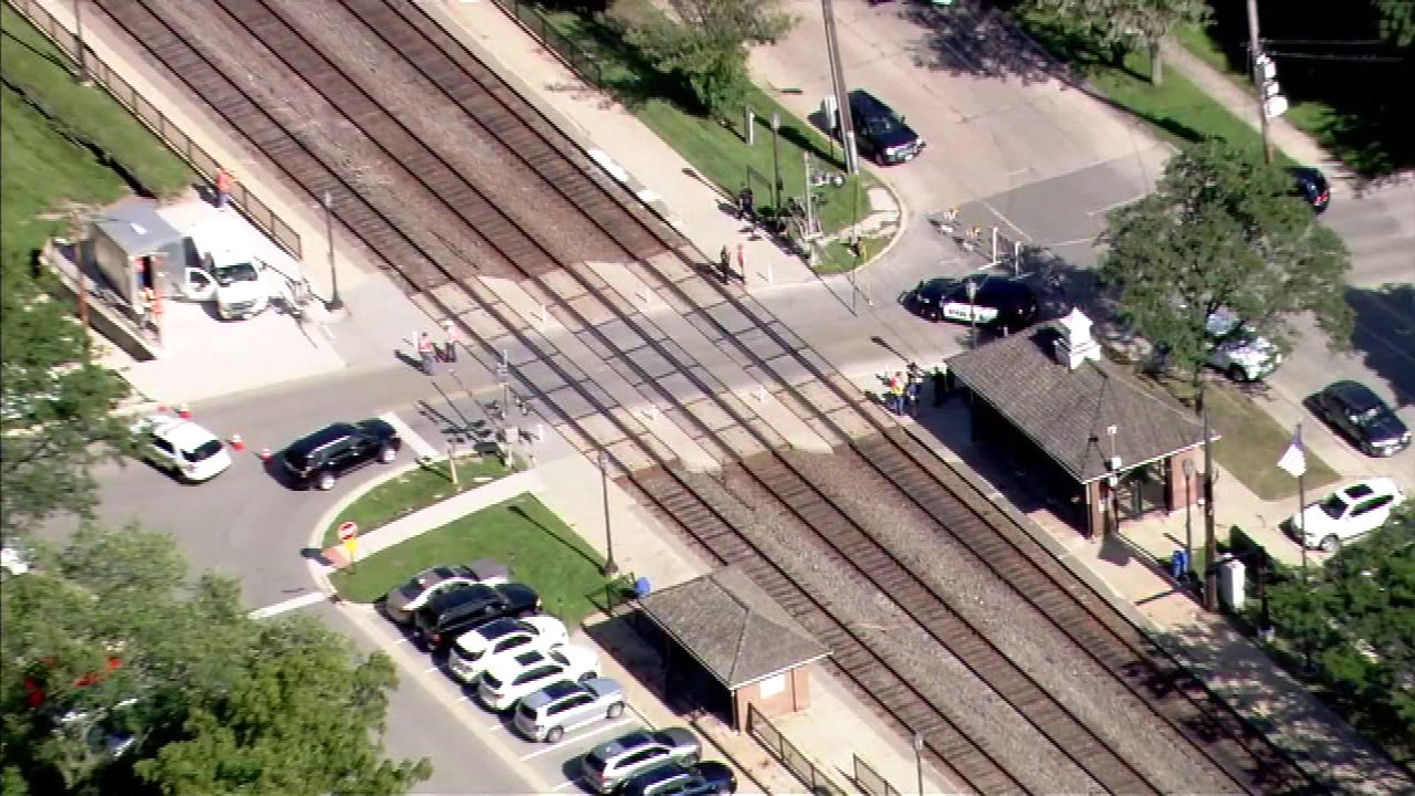 Police investigate after a Metra BNSF train struck a pedestrian near Hinsdale on August 23, 2016.