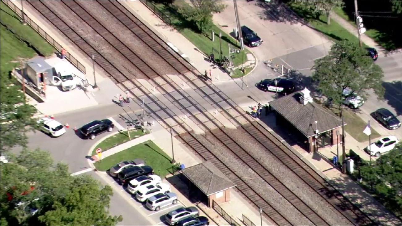 Police investigate after a Metra BNSF train struck a pedestrian near Hinsdale on August 23, 2016.