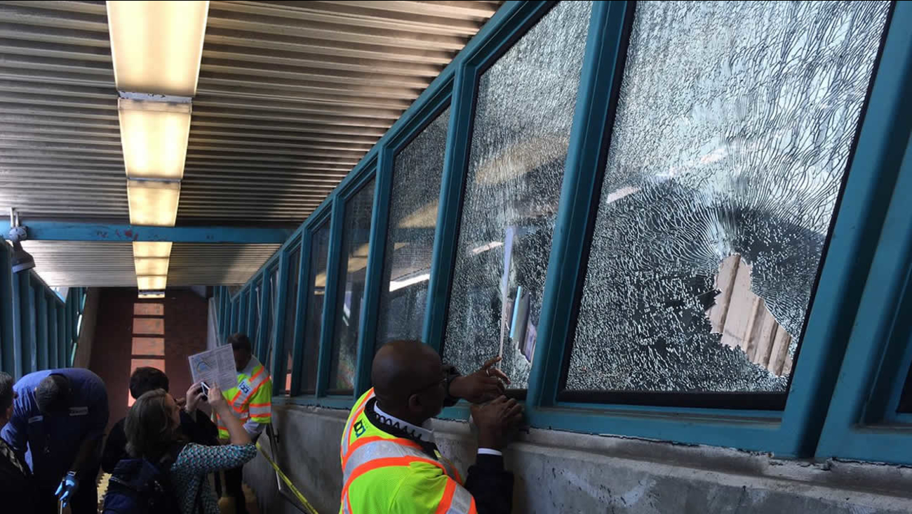 BART officials say a person wielding a golf club smashed several windows at the station in West Oakland, Calif. on Tuesday, August 23, 2016.