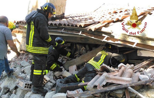 "<div class=""meta image-caption""><div class=""origin-logo origin-image none""><span>none</span></div><span class=""caption-text"">Italian firefighters search for survivors under the rubble of the town of Amatrice, central Italy, Wednesday, Aug. 24, 2016 following an earthquake. (Italian Firefighters Vigili del Fuoco via AP)</span></div>"