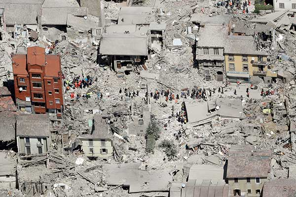 <div class='meta'><div class='origin-logo' data-origin='none'></div><span class='caption-text' data-credit='Gregorio Borgia/AP Photo'>This aerial photo shows the damaged buildings in the town of Amatrice, central Italy, after an earthquake, Wednesday, Aug. 24, 2016.</span></div>