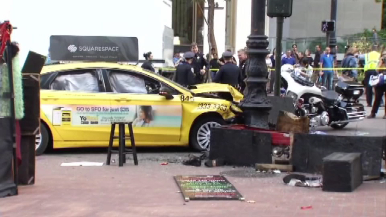Taxi jumps curb in San Francisco, 3 suffer critical injuries
