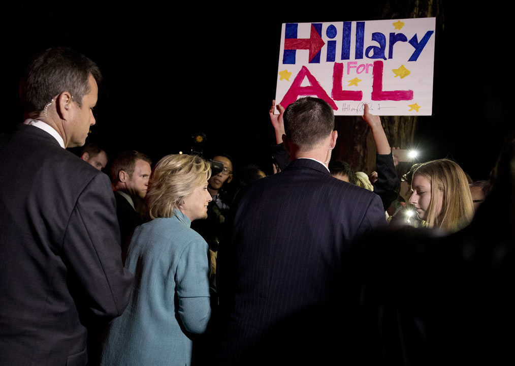 "<div class=""meta image-caption""><div class=""origin-logo origin-image none""><span>none</span></div><span class=""caption-text"">Democratic presidential nominee Hillary Clinton greets people outside on the street as she leaves a fundraiser in Piedmont, Calif., Tuesday, Aug. 23, 2016. (AP Photo/Carolyn Kaster)</span></div>"
