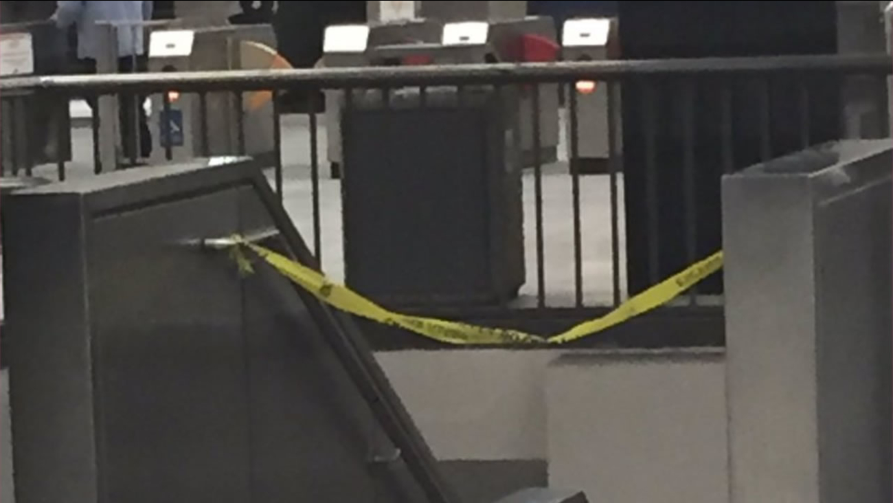 This image shows police tape up at the Civic Center BART station in San Francisco on August 24, 2016.